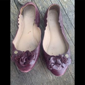 Tory Burch port blossom wine flower flats 7